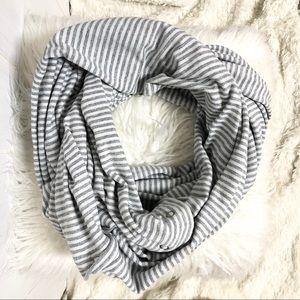 lululemon athletica Accessories - Lululemon Grey and White Stripe Vinyasa Scarf